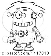 Clipart Of A Cartoon Black And White Robot Experiencing A Short Royalty Free Vector Illustration by toonaday