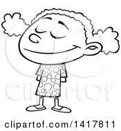 Clipart Of A Cartoon Black And White Happy African American School Girl Smiling Royalty Free Vector Illustration