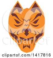 Retro Brown And Orange Wolf Head
