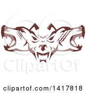 Retro Brown Wolf Heads Facing Front And To The Sides