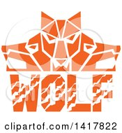 Retro Orange Wolf Heads Facing Front And To The Sides Over Text
