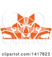 Clipart Of Retro Orange Wolf Heads Facing Front And To The Sides Royalty Free Vector Illustration by patrimonio