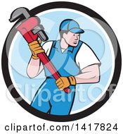 Clipart Of A Retro Cartoon White Male Plumber Or Handy Man Running With A Monkey Wrench In A Black White And Blue Circle Royalty Free Vector Illustration