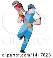 Poster, Art Print Of Retro Cartoon White Male Plumber Or Handy Man Running With A Monkey Wrench