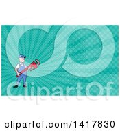Retro Cartoon White Male Plumber Or Handy Man Holding A Monkey Wrench And Turquoise Rays Background Or Business Card Design