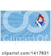 Clipart Of A Retro Sketched Navy Goat Man Holding Pipe Monkey Wrench In An American Circle And Blue Rays Background Or Business Card Design Royalty Free Illustration