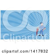Clipart Of A Retro Cartoon White Male Plumber Or Handy Man With A Monkey Wrench And Blue Rays Background Or Business Card Design Royalty Free Illustration