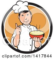 Clipart Of A Retro Chef Holding Up A Finger And A Bowl Of Hot Noodle Soup Royalty Free Vector Illustration
