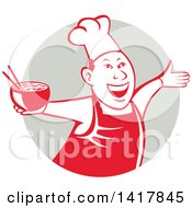 Clipart Of A Retro Chef Holding A Bowl Of Hot Noodle Soup And Cheering Welcoming Or Dancing In A Gray Circle Royalty Free Vector Illustration