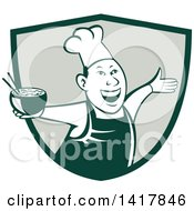 Clipart Of A Retro Chef Holding A Bowl Of Hot Noodle Soup And Cheering Welcoming Or Dancing In A Shield Royalty Free Vector Illustration