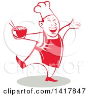 Clipart Of A Retro Chef Holding A Bowl Of Hot Noodle Soup And Dancing Royalty Free Vector Illustration