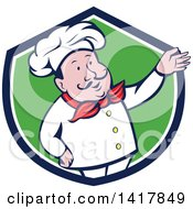 Retro Cartoon Male French Chef Presenting In A Blue White And Green Crest