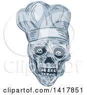 Clipart Of A Sketched Skull Chef Head Royalty Free Vector Illustration