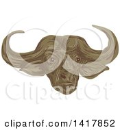 Clipart Of A Sketched African Buffalo Or Cape Buffalo Head Royalty Free Vector Illustration by patrimonio