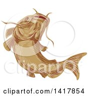 Clipart Of A Sketched Ray Finned Fish Catfish Royalty Free Vector Illustration by patrimonio