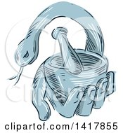 Clipart Of A Sketched Blue Hand Holding A Mortar And Pestle With A Snake Royalty Free Vector Illustration