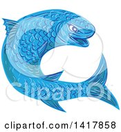 Clipart Of A Sketched Blue Mullet Fish Royalty Free Vector Illustration