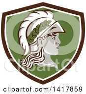 Clipart Of A Profile Portrait Of The Roman Goddess Of Wisdom Minerva Or Menrva Wearing A Helmet And Laurel Crown In A Brown White And Green Shield Royalty Free Vector Illustration by patrimonio