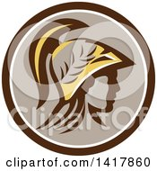 Clipart Of A Profile Portrait Of The Roman Goddess Of Wisdom Minerva Or Menrva Wearing A Helmet And Laurel Crown In A Brown White And Taupe Circle Royalty Free Vector Illustration by patrimonio