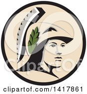 Clipart Of A Profile Portrait Of The Roman Goddess Of Wisdom Minerva Or Menrva Wearing A Helmet And Laurel Crown In A Black And Beige Circle Royalty Free Vector Illustration by patrimonio