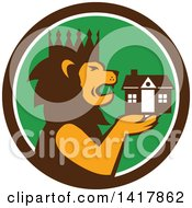 Clipart Of A Retro Crowned King Lion Holding A House In A Brown White And Green Circle Royalty Free Vector Illustration