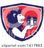 Clipart Of A Retro Crowned King Lion Holding A House In A Blue White And Red Crest Royalty Free Vector Illustration