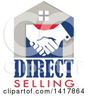 Poster, Art Print Of Retro House With Shaking Hands And Direct Selling Text