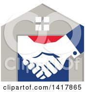 Poster, Art Print Of Retro House With Shaking Hands