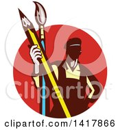 Clipart Of A Retro Male Artist Holding A Giant Pencil And Paintbrush In A Red Circle Royalty Free Vector Illustration