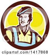Clipart Of A Retro Male French Artist Wearing A Beret In A Brown White And Yellow Circle Royalty Free Vector Illustration by patrimonio