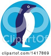 Clipart Of A Retro Adelie Penguin In Profile In A Blue Circle Royalty Free Vector Illustration by patrimonio