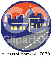 Clipart Of A Retro Street And City Skyline In A Blue And Orange Circle Royalty Free Vector Illustration