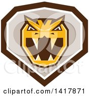 Clipart Of A Retro Horned Viper Snake Head In A Brown White And Taupe Crest Royalty Free Vector Illustration by patrimonio