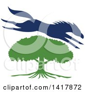 Clipart Of A Blue Silhouetted Horse Leaping Over A Green Oak Tree Royalty Free Vector Illustration