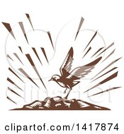 Clipart Of A Retro Brown Woodcut Plover Bird Landing On An Island Royalty Free Vector Illustration