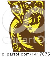 Clipart Of A Retro Woodcut Brown White And Yellow Samoan God Tagaloa Peeking Royalty Free Vector Illustration by patrimonio