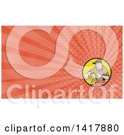 Retro Cartoon Male Mason Worker Laying Bricks And Orange Rays Background Or Business Card Design