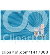 Poster, Art Print Of Cartoon Male Oven Cleaner Technician Standing By A Range And Giving A Thumb Up And Blue Rays Background Or Business Card Design