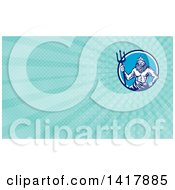 Retro Woodcut Roman Sea God Neptune Or Poseidon With A Trident And Blue Rays Background Or Business Card Design