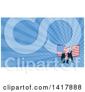 Retro Male Welder Looking Back Over His Shoulder And An American Flag Over Blue Rays Background Or Business Card Design