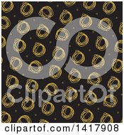 Clipart Of A Background Of Scribbled Circles On Black Royalty Free Vector Illustration