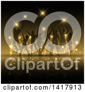 Clipart Of A Background Of Silhouetted Party People Dancing And Gold Flares Royalty Free Vector Illustration