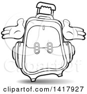 Clipart Of A Lineart Suitcase With Hands Royalty Free Vector Illustration by Lal Perera