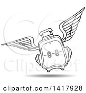 Clipart Of A Lineart Flying Suitcase Royalty Free Vector Illustration