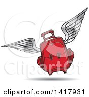 Clipart Of A Red Flying Suitcase Royalty Free Vector Illustration