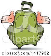 Clipart Of A Green Suitcase With Hands Royalty Free Vector Illustration