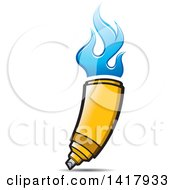 Clipart Of A Yellow Marker With Blue Flames Royalty Free Vector Illustration