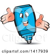 Clipart Of A Happy Blue Marker Character Royalty Free Vector Illustration by Lal Perera