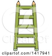 Clipart Of A Green Pencil Ladder Royalty Free Vector Illustration by Lal Perera