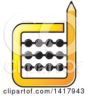 Clipart Of A Pencil Abacus Royalty Free Vector Illustration by Lal Perera